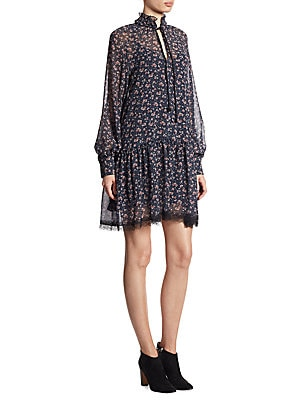 Rose Printed Long Sleeve Dress