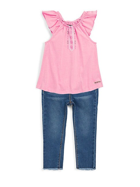 LITTLE GIRL'S TWO-PIECE RUFFLE-SLEEVE TOP AND JEANS SET