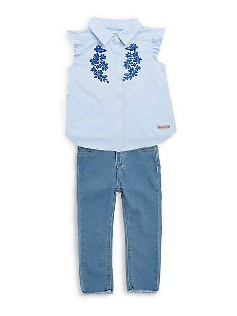 LITTLE GIRL'S TWO-PIECE EMBROIDERED TOP AND JEANS SET