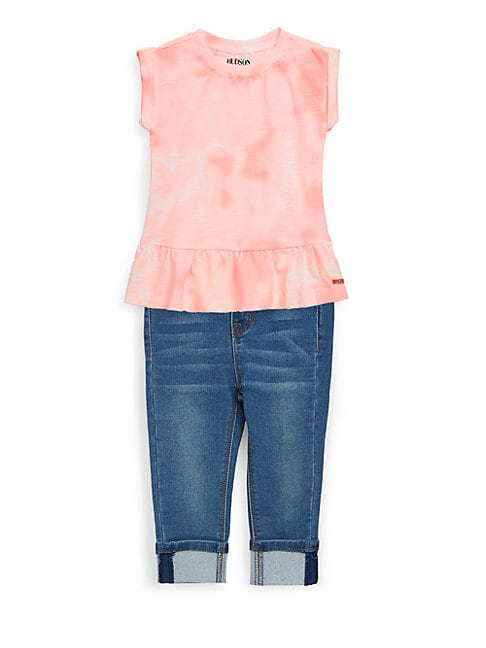 LITTLE GIRL'S TWO-PIECE TIE-DYE TOP AND JEANS SET