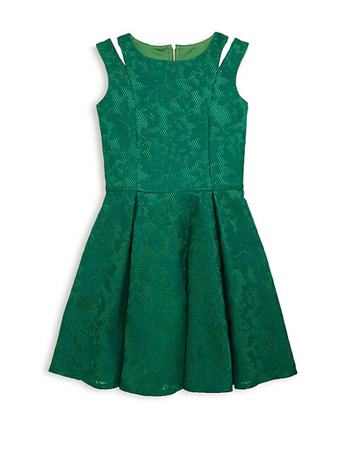 Girl's Embroidered Mesh Sleeveless Dress