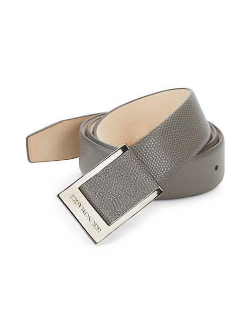 Leather Snake-Print Belt