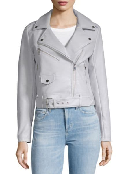 Crop Belted Asymmetric Moto Jacket by Saks Fifth Avenue Red