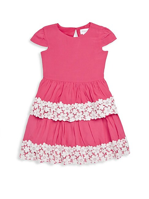 Little Girl's Cap-Sleeve Crepe Dress