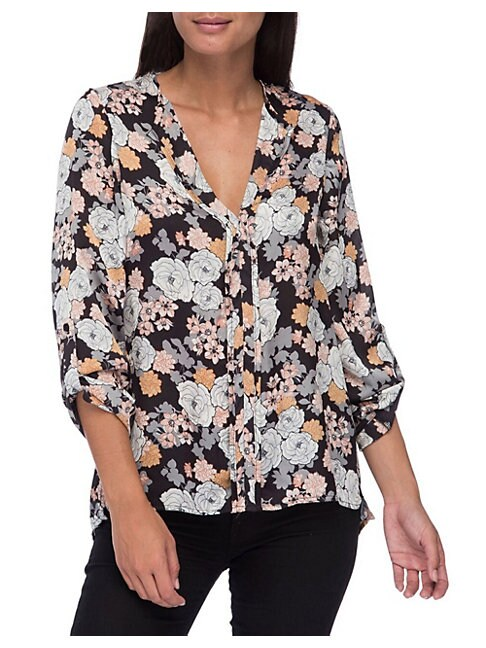 B COLLECTION BY BOBEAU | Cristy Pleat-Back Floral-Print Blouse | Goxip