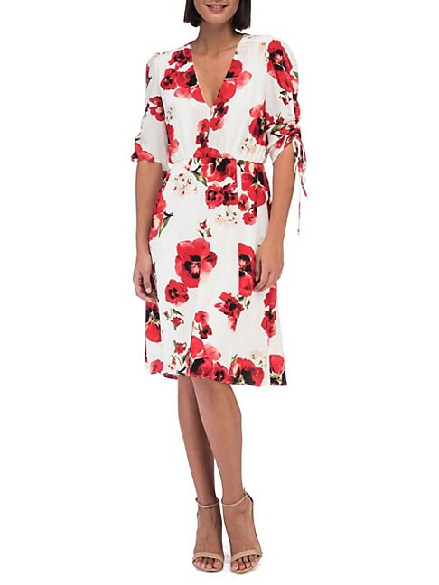 Floral Ruched-Sleeve Dress