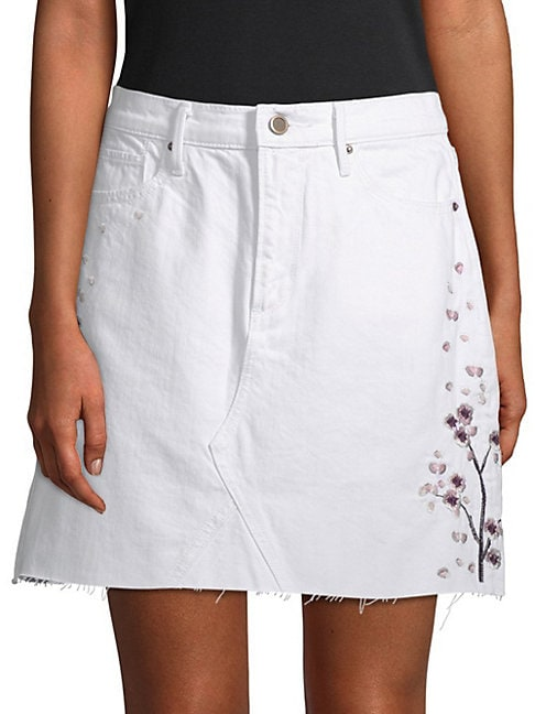 DRIFTWOOD | Stef Embroidered Denim Skirt | Goxip
