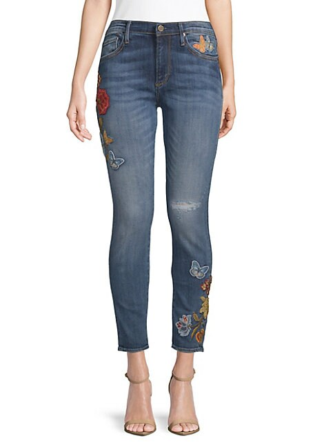 DRIFTWOOD | Marilyn Embroidered Skinny Jeans | Goxip