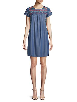 DRIFTWOOD Ella Embroidered Chambray Dress in Dark Blue
