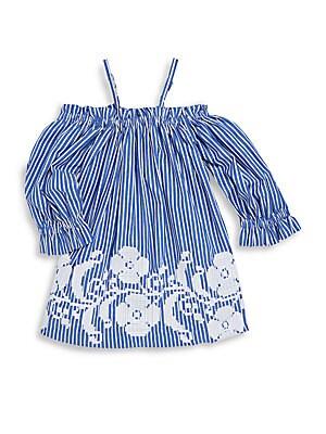 Little Girl's & Girl's Stripe Cold-Shoulder Cotton Dress