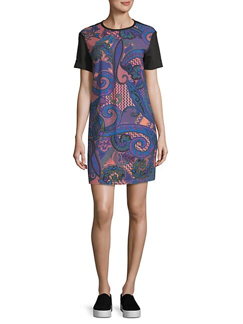 Printed Short-Sleeve Mini Dress