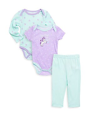 Baby's Three-Piece Unicorn Bodysuits and Pants Set