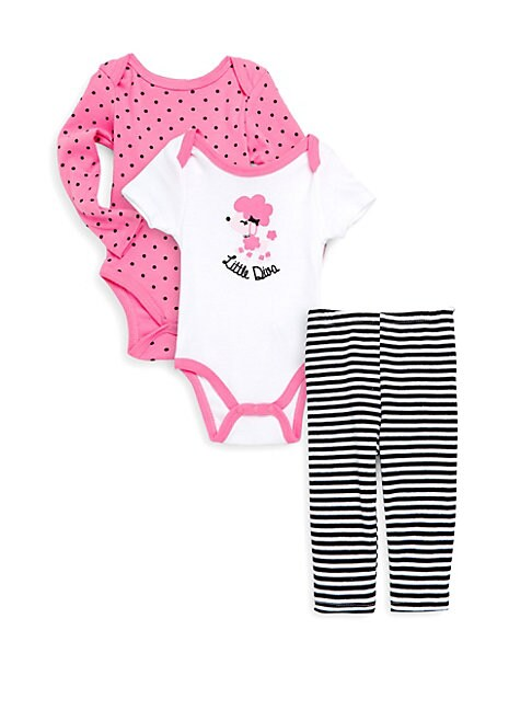 Baby Girl's Three-Piece Graphic Bodysuits and Pants Set