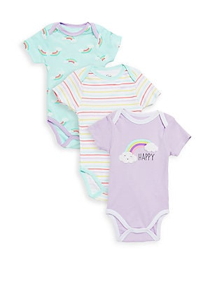 Baby's Three-Pack Happy Cotton Bodysuits