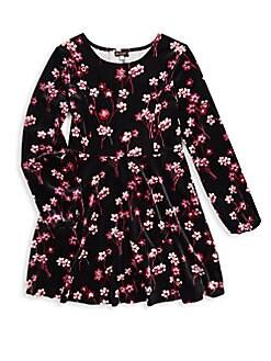 Ella Moss Girl - Girl's Floral Velour A-Line Dress
