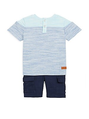 Baby Boys TwoPiece Crewneck Tee and Cargo Shorts Set
