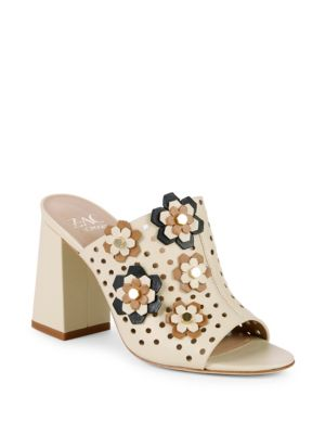 Frances Floral Perforated Leather Mules in Ivory