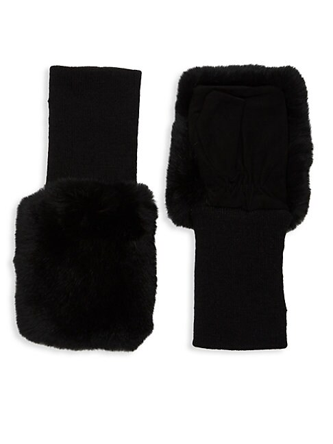 GLAMOURPUSS | Dyed Rabbit Fur-Trimmed Fingerless Gloves | Goxip