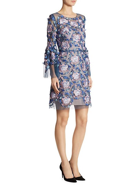 MARCHESA | Embroidered Bell Sleeve Dress | Goxip