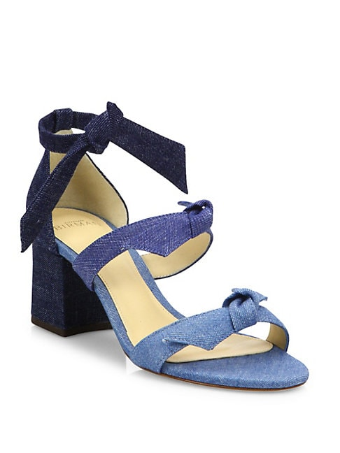 Mary Bow Colorblock Denim Block Heel Sandals
