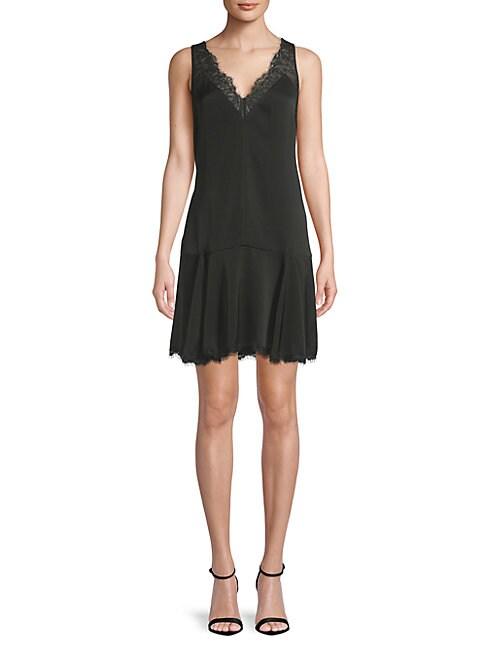 BCBGMAXAZRIA | Lace-Trim Godet Dress | Goxip