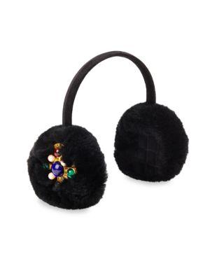 GLAMOURPUSS Embellished Rabbit Fur & Velvet Earmuffs in Black