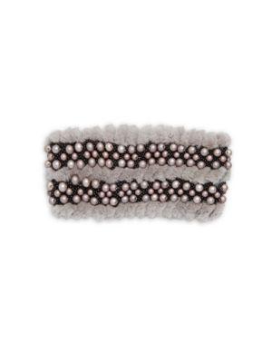 GLAMOURPUSS Embellished Dyed Rabbit Fur Headband in Grey