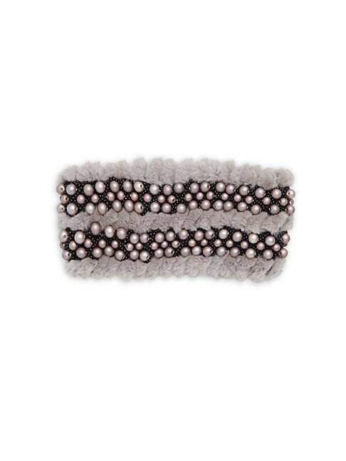GLAMOURPUSS | Embellished Dyed Rabbit Fur Headband | Goxip