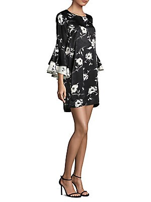 DELFI COLLECTIVE Alana Statement Sleeve Floral Dress in Black Floral