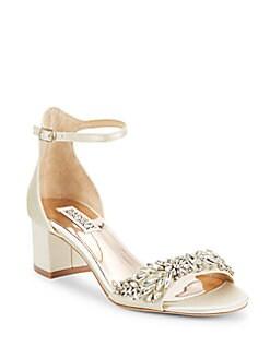 9449533bbe33 Badgley Mischka. Tamara Leather Ankle-Strap Sandals
