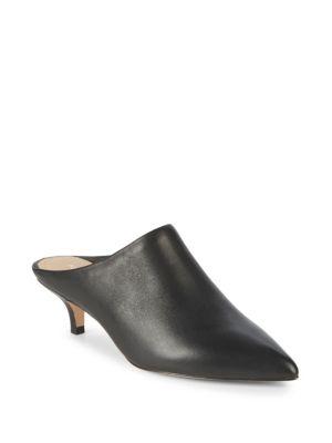 POUR LA VICTOIRE Women'S Korrine Leather Kitten Heel Pointed Toe Mules in Black