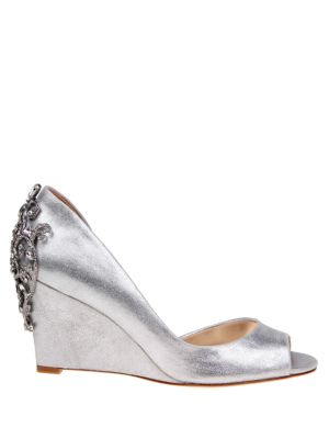 Meagan Metallic Suede Embellished Half D'Orsay Peep Toe Wedge Pumps in Silver