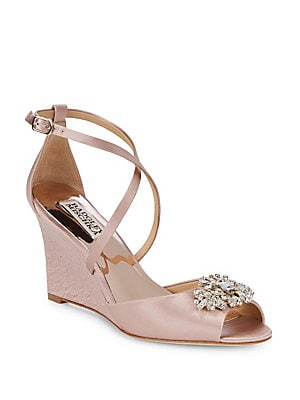 63306bc902f Badgley Mischka - Abigail Embellished Satin Ankle Strap Sandals