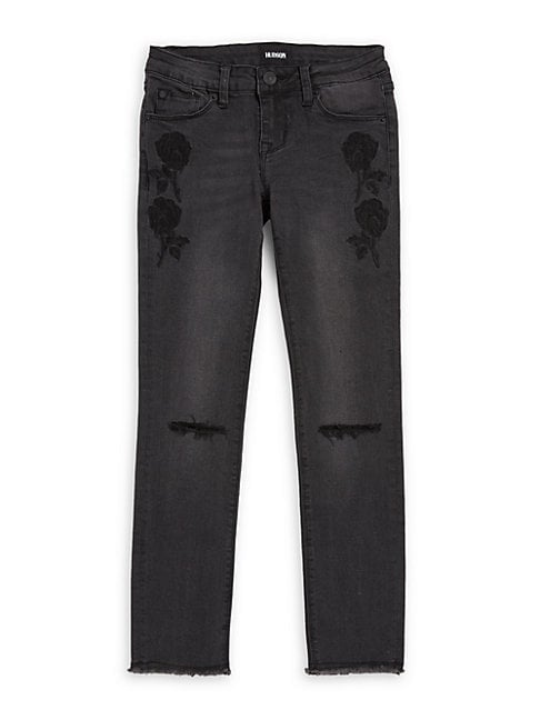 Girl's Iris Embroidered Ankle Jeans