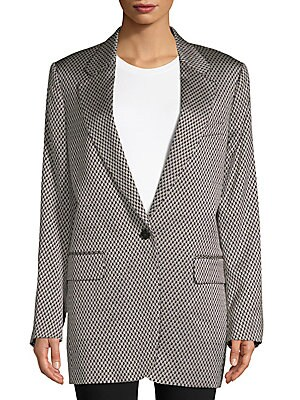 Mens-Inspired Houndstooth Jacket