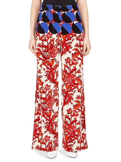 Oversize Printed Velvet Wide-Leg Pants