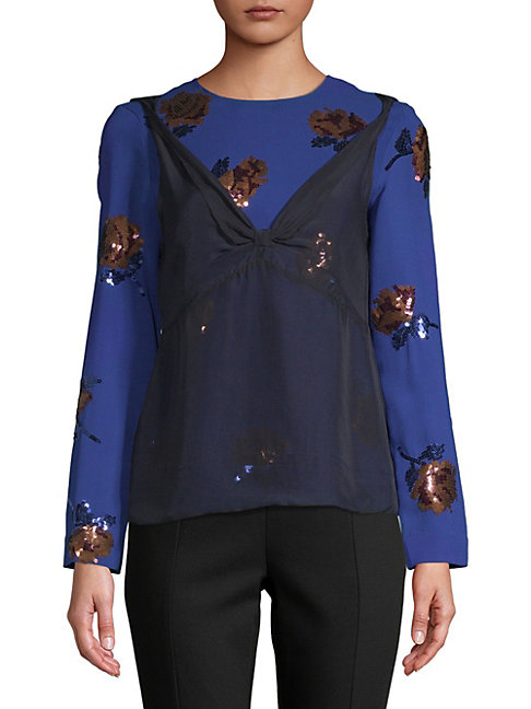 Floral Sequined Long-Sleeve Blouse