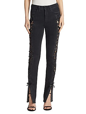 LACE-UP SLIT STOVEPIPE JEANS