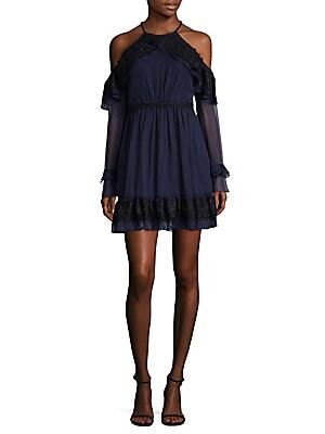FRILL SEEKER COLD-SHOULDER A-LINE DRESS