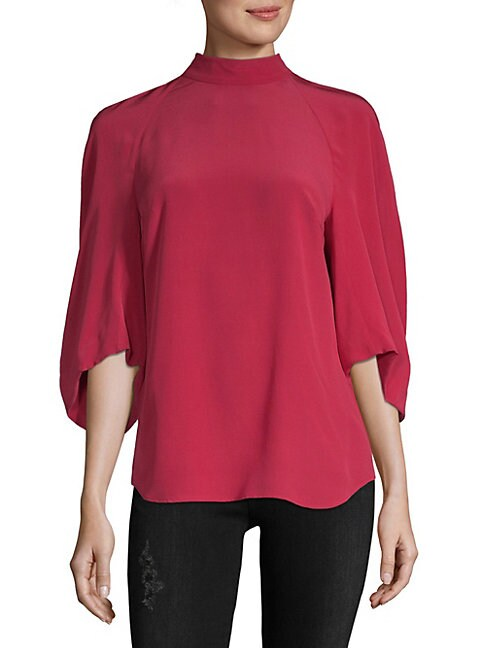 Quarter-Sleeve Silk Blouse