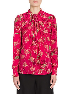 Lotus-Print Silk Tie-Neck Blouse