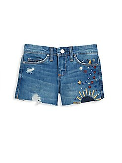 Blank NYC - Girl's Embroidered Denim Cut Off Shorts