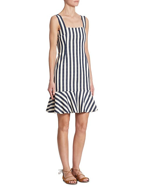 AKRIS PUNTO   Striped Denim Dress   Goxip