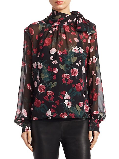 Collection Floral-Print Silk Neck Tie Blouse, Empire Floral
