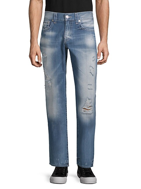 True Religion DISTRESSED STRAIGHT-FIT COTTON JEANS