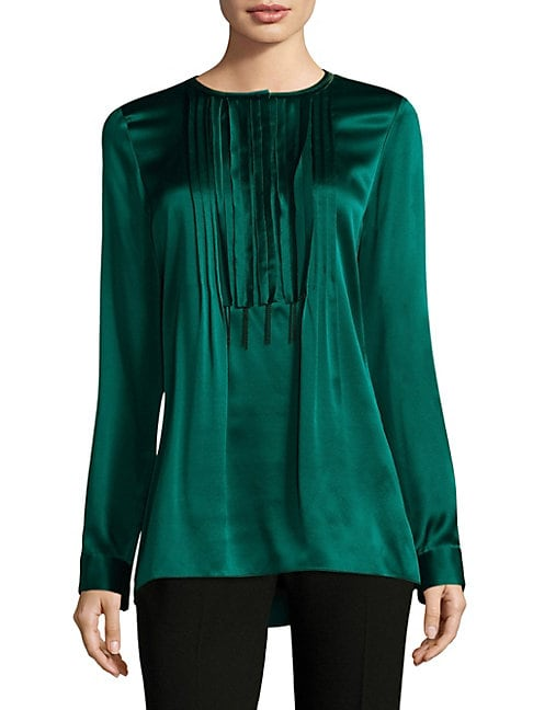 Dabney Pleated Silk Blouse