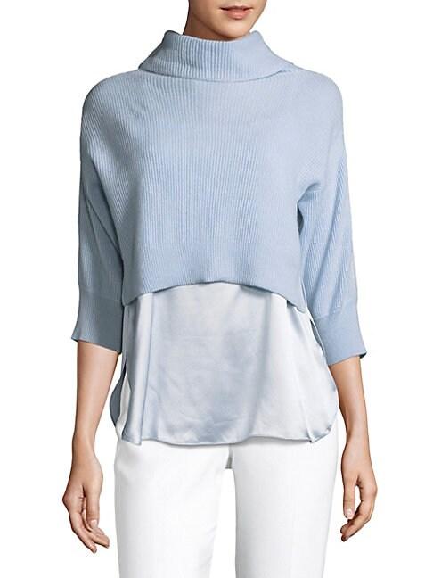 Claudetta Cashmere & Silk Turtleneck Sweater