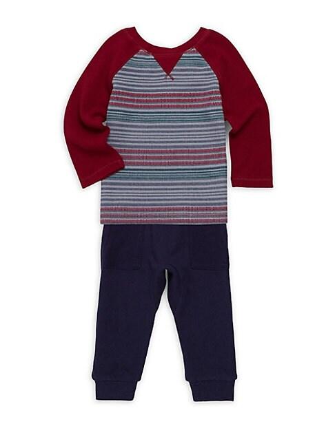 BABY BOY'S TWO-PIECE STRIPE TOP & JOGGER PANTS SET