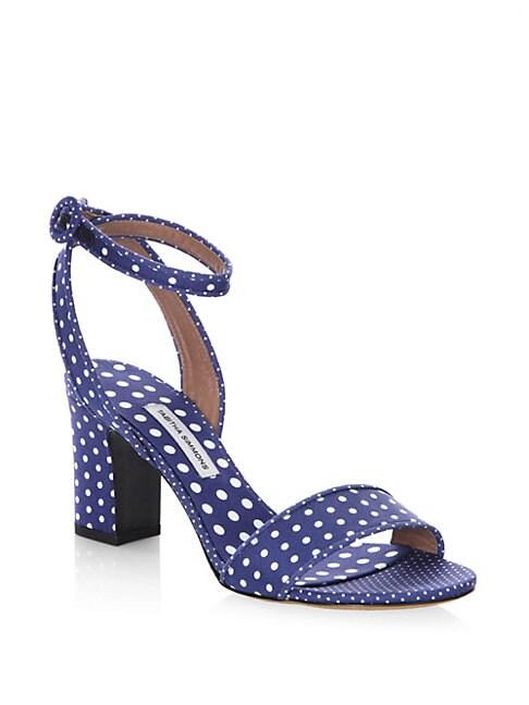 Leticia Polka Dot Block Heel Cotton Sandals