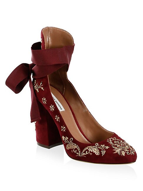 Isabel Embroidered Suede Ankle-Wrap Pumps